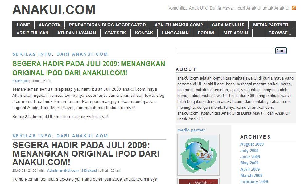 anakUI.com versi pertama, tahun 2007